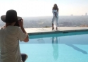 Christie Brinkley poses for the camera during the making of Safety in Paradise, the new Air New Zealand safety video
