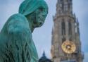 The Arbeid Vrijheid statue near the Stadshuys in Antwerp, Belgium