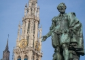 Statue of Peter Paul Rubens on the Groenplaats in Antwerp, Belgium
