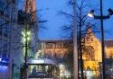 A quick stop on the Groenplaats as night falls in Antwerp, Belgium