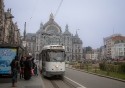 One of Antwerp's traditional trams outside the Central Station