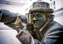 The famous bronze statue of the Paparazzi in Bratislava, Slovakia