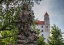 Bratislava Castle viewed from its beautiful gardens, in the Slovak capital