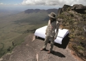 Aaron prepares to spend the night atop Devil's Mountain in the Sweet Bed by ibis™