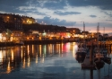 Whitby town and harbour at dusk