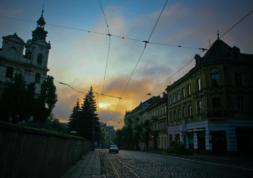 Early autumn sunrise in Lviv, Western Ukraine