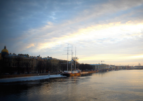 A frozen River Neva in St Petersburg