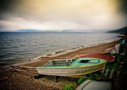 The mysterious shores of Lake Baikal in Siberia