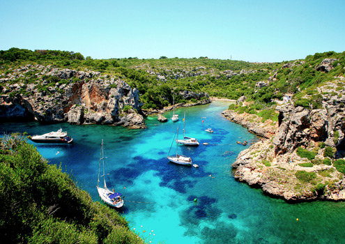 Beautiful Cales Coves on the Spanish island of Menorca