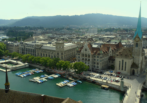Zurich, with the River Limmat and the old town