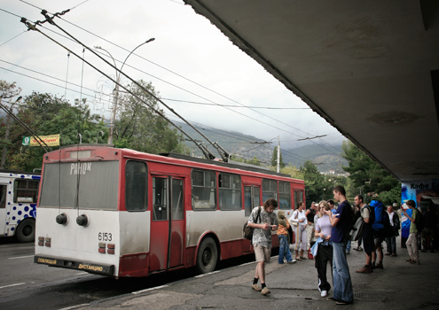 An old Skoda at Simferopol station, one end of the longest trolleybus ride in the world