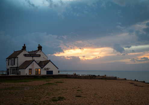 Whitstable beach at sunset