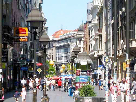 A bustling street in Belgrade, the Serbian capital