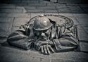 The bronze Peeper hidden in the streets of Bratislava, Slovakia