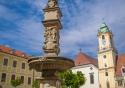 Maximilian Fountain (Roland Fountain) in Hlavné námestie in Bratislava, Slovakia