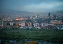The Ulaanbaatar skyline at dusk